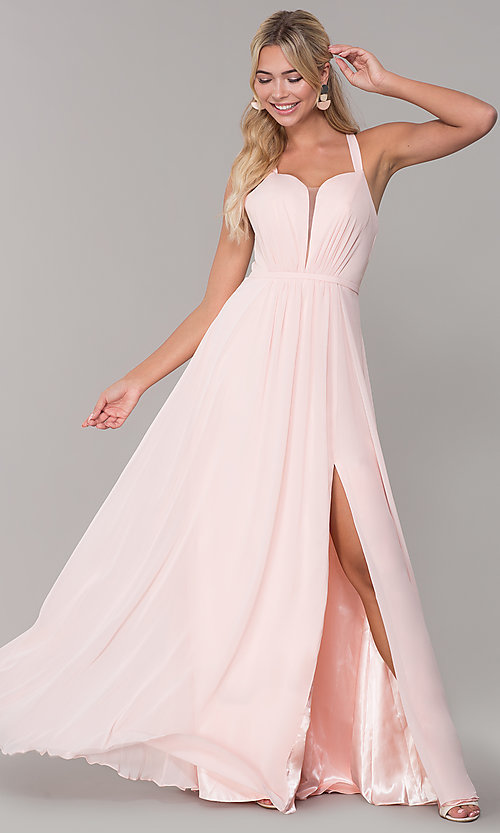 Image of long sleeveless pleated-bodice chiffon prom dress. Style: DQ-2541 Detail Image 4