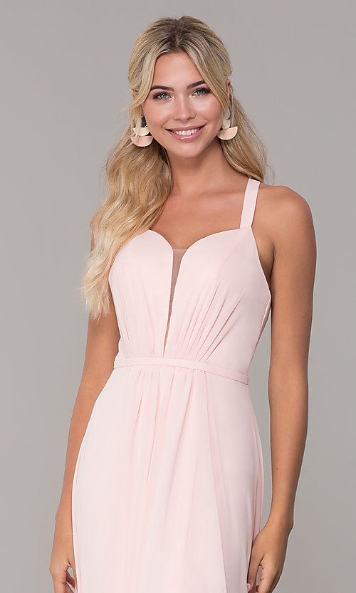 Image of long sleeveless pleated-bodice chiffon prom dress. Style: DQ-2541 Detail Image 5