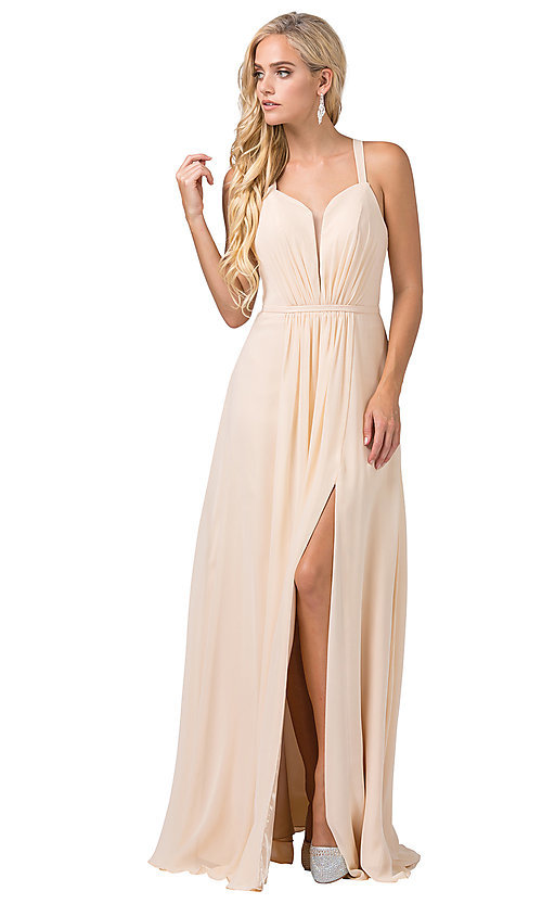 Image of long sleeveless pleated-bodice chiffon prom dress. Style: DQ-2541 Detail Image 6