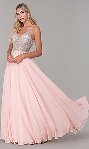 Image of sleeveless long beaded-illusion-bodice prom dress. Style: DQ-2570 Detail Image 3