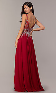 Image of sleeveless long beaded-illusion-bodice prom dress. Style: DQ-2570 Detail Image 6