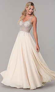 Image of sleeveless long beaded-illusion-bodice prom dress. Style: DQ-2570 Detail Image 1