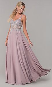 Image of sleeveless long beaded-illusion-bodice prom dress. Style: DQ-2570 Front Image