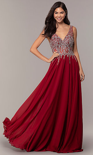 Sleeveless Long Beaded-Illusion-Bodice Prom Dress