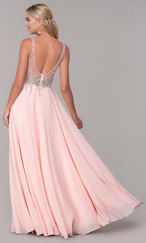 Image of sleeveless long beaded-illusion-bodice prom dress. Style: DQ-2570 Detail Image 4