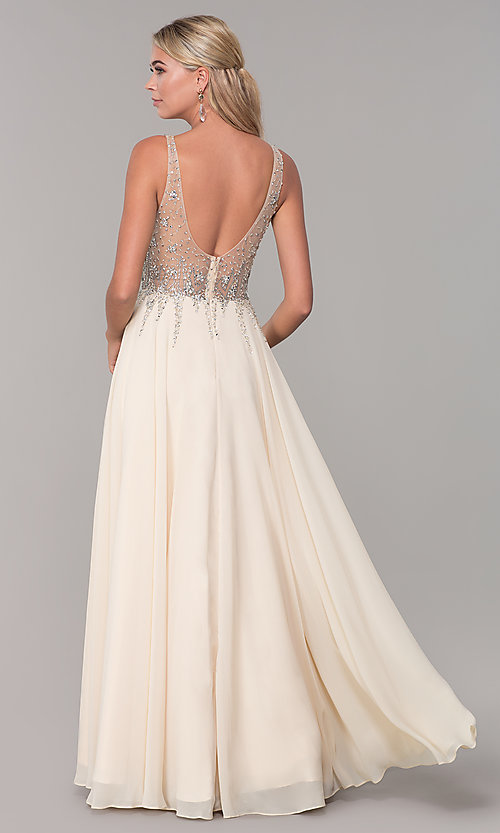 Image of sleeveless long beaded-illusion-bodice prom dress. Style: DQ-2570 Detail Image 2
