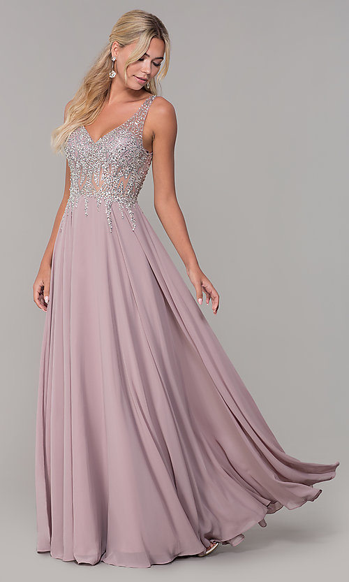abba31865a6 Image of sleeveless long beaded-illusion-bodice prom dress. Style  DQ-