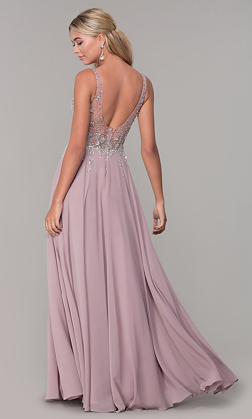 Image of sleeveless long beaded-illusion-bodice prom dress. Style: DQ-2570 Back Image