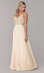 Image of rhinestone-bodice long chiffon formal dress for prom. Style: DQ-2493 Detail Image 5