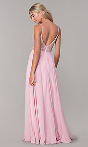Image of rhinestone-bodice long chiffon formal dress for prom. Style: DQ-2493 Detail Image 7