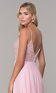 Image of rhinestone-bodice long chiffon formal dress for prom. Style: DQ-2493 Detail Image 4