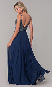 Image of rhinestone-bodice long chiffon formal dress for prom. Style: DQ-2493 Back Image