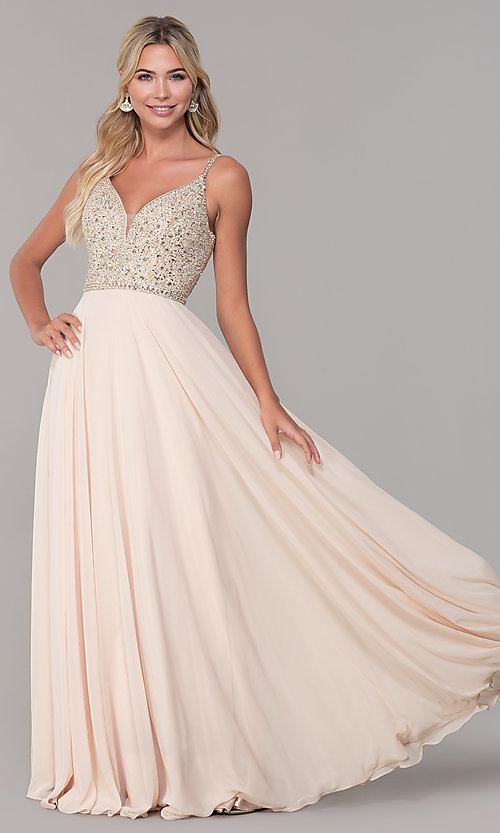 Image of rhinestone-bodice long chiffon formal dress for prom. Style: DQ-2493 Front Image