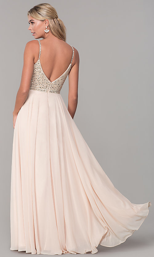 Image of rhinestone-bodice long chiffon formal dress for prom. Style: DQ-2493 Detail Image 6