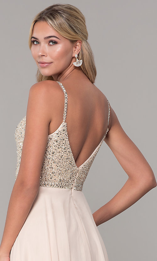 Image of rhinestone-bodice long chiffon formal dress for prom. Style: DQ-2493 Detail Image 2