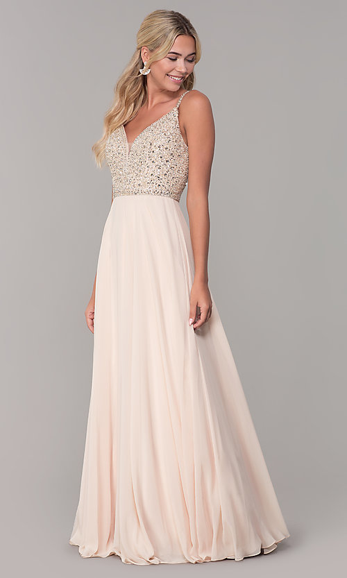 Image of rhinestone-bodice long chiffon formal dress for prom. Style: DQ-2493 Detail Image 3