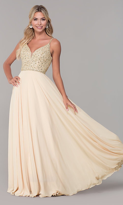 Image of rhinestone-bodice long chiffon formal dress for prom. Style: DQ-2493 Detail Image 1