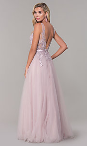 Image of long formal sparkly prom dress with embroidery. Style: DQ-2596 Back Image