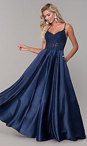 Image of illusion-bodice long satin prom dress with pockets. Style: DQ-2459 Detail Image 5
