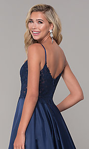 Image of illusion-bodice long satin prom dress with pockets. Style: DQ-2459 Detail Image 2