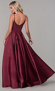 Image of illusion-bodice long satin prom dress with pockets. Style: DQ-2459 Back Image