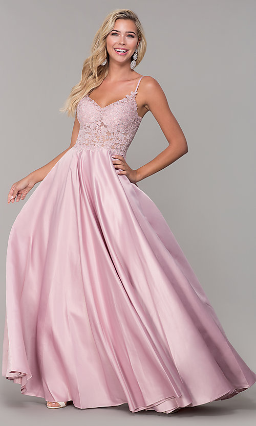 Image of illusion-bodice long satin prom dress with pockets. Style: DQ-2459 Detail Image 1