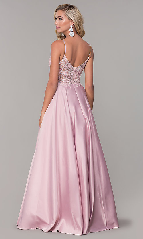 Image of illusion-bodice long satin prom dress with pockets. Style: DQ-2459 Detail Image 6