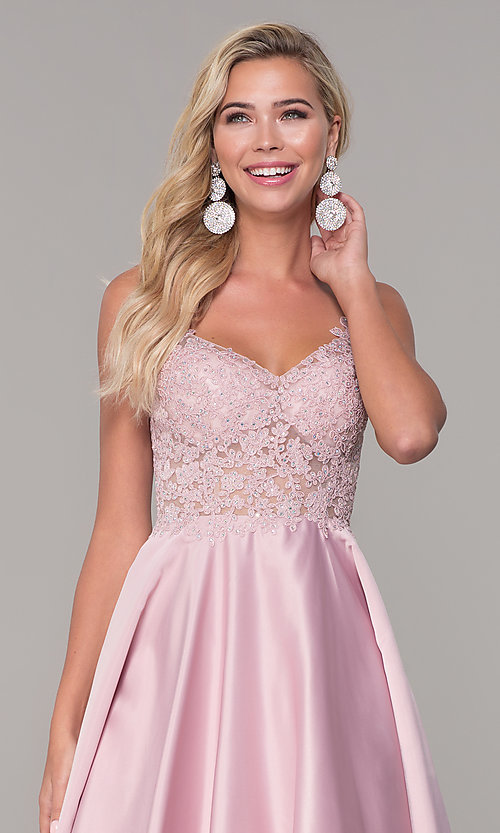 Image of illusion-bodice long satin prom dress with pockets. Style: DQ-2459 Detail Image 7