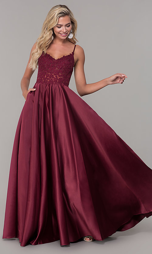 Image of illusion-bodice long satin prom dress with pockets. Style: DQ-2459 Front Image