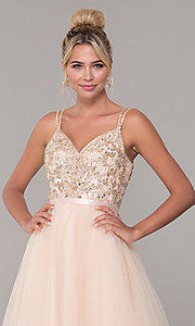 Image of long prom dress with rhinestone-beaded bodice. Style: DQ-2519 Detail Image 7
