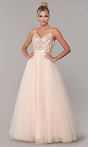 Image of long prom dress with rhinestone-beaded bodice. Style: DQ-2519 Detail Image 1