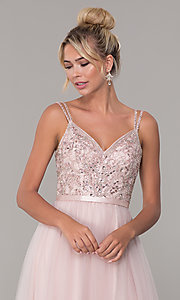 Image of long prom dress with rhinestone-beaded bodice. Style: DQ-2519 Detail Image 6