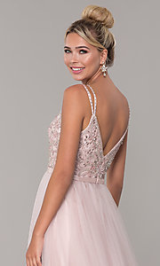 Image of long prom dress with rhinestone-beaded bodice. Style: DQ-2519 Detail Image 2