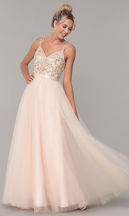 Image of long prom dress with rhinestone-beaded bodice. Style: DQ-2519 Front Image