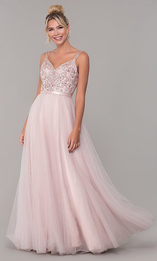 Image of long prom dress with rhinestone-beaded bodice. Style: DQ-2519 Detail Image 4
