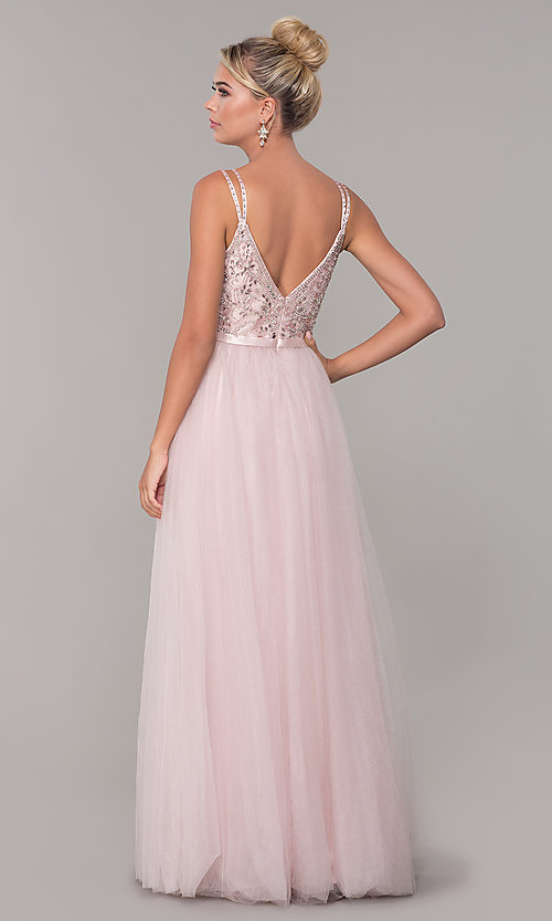 Image of long prom dress with rhinestone-beaded bodice. Style: DQ-2519 Back Image