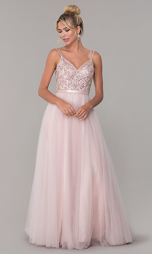 Image of long prom dress with rhinestone-beaded bodice. Style: DQ-2519 Detail Image 3