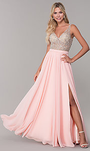 Image of beaded-bodice long chiffon formal dress for prom. Style: DQ-2569 Detail Image 6