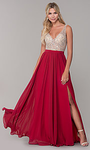 Image of beaded-bodice long chiffon formal dress for prom. Style: DQ-2569 Detail Image 4