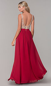 Image of beaded-bodice long chiffon formal dress for prom. Style: DQ-2569 Detail Image 5