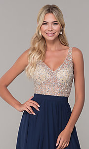 Image of beaded-bodice long chiffon formal dress for prom. Style: DQ-2569 Detail Image 1