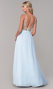 Image of beaded-bodice long chiffon formal dress for prom. Style: DQ-2569 Back Image