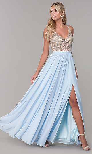 Beaded-Bodice Long Chiffon Formal Dress for Prom
