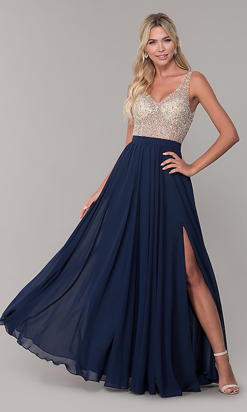 Image of beaded-bodice long chiffon formal dress for prom. Style: DQ-2569 Front Image