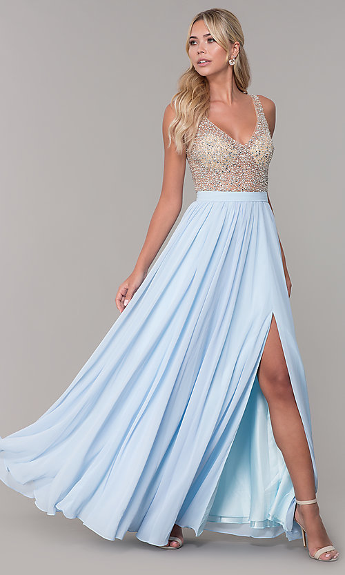 Image of beaded-bodice long chiffon formal dress for prom. Style: DQ-2569 Detail Image 2
