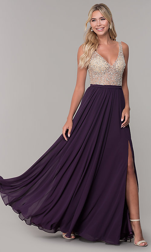 Image of beaded-bodice long chiffon formal dress for prom. Style: DQ-2569 Detail Image 7