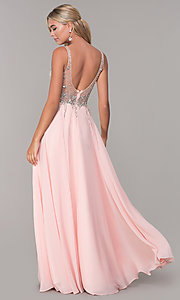 Image of long open-back prom dress with beaded bodice. Style: DQ-2513 Detail Image 5