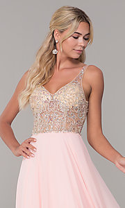 Image of long open-back prom dress with beaded bodice. Style: DQ-2513 Detail Image 6