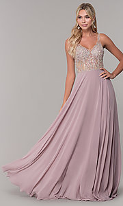 Image of long open-back prom dress with beaded bodice. Style: DQ-2513 Front Image