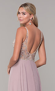 Image of long open-back prom dress with beaded bodice. Style: DQ-2513 Detail Image 2